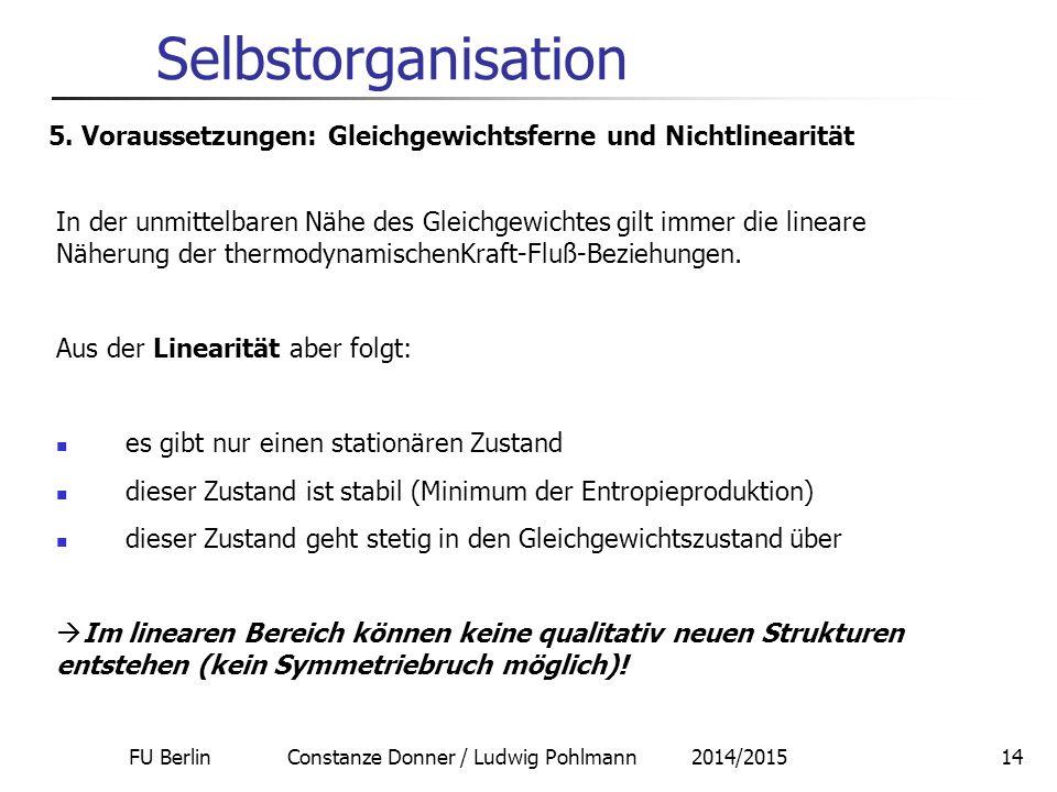 FU Berlin Constanze Donner / Ludwig Pohlmann 2014/201515 Selbstorganisation thermodynamischer Ast, Lineare Näherung erste Bifurkation Entfernung vom Gleichgewicht zweite Bifurkation 5.