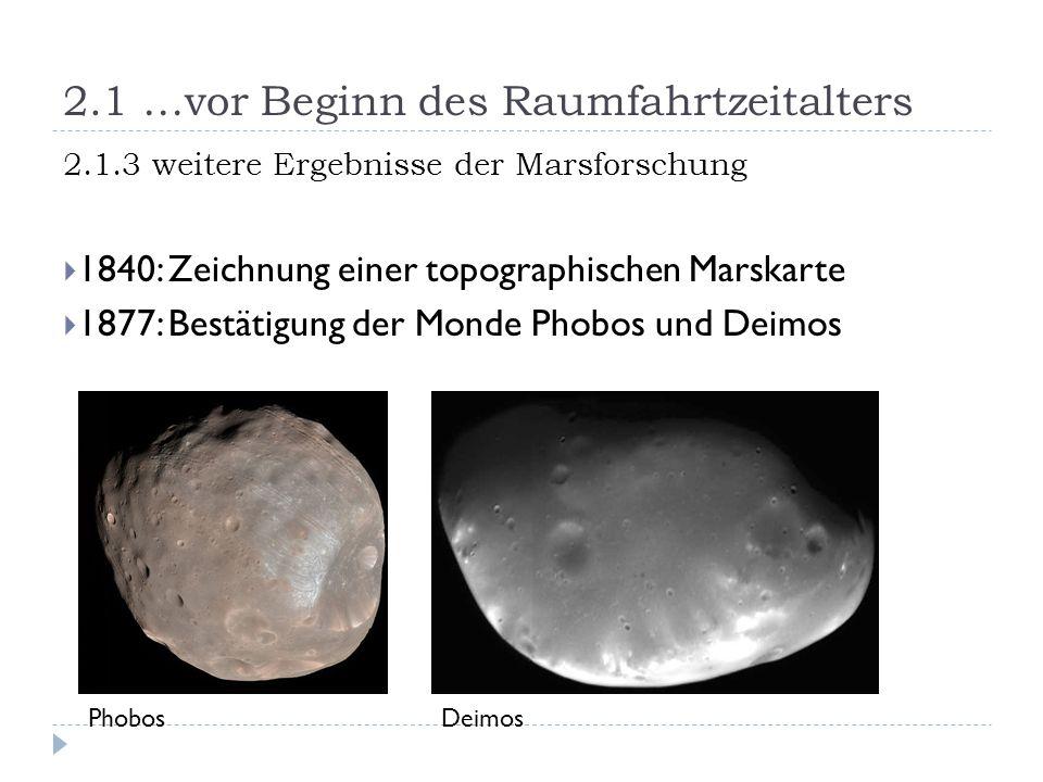 2.1 …vor Beginn des Raumfahrtzeitalters 2.1.3 weitere Ergebnisse der Marsforschung  1840: Zeichnung einer topographischen Marskarte  1877: Bestätigung der Monde Phobos und Deimos PhobosDeimos