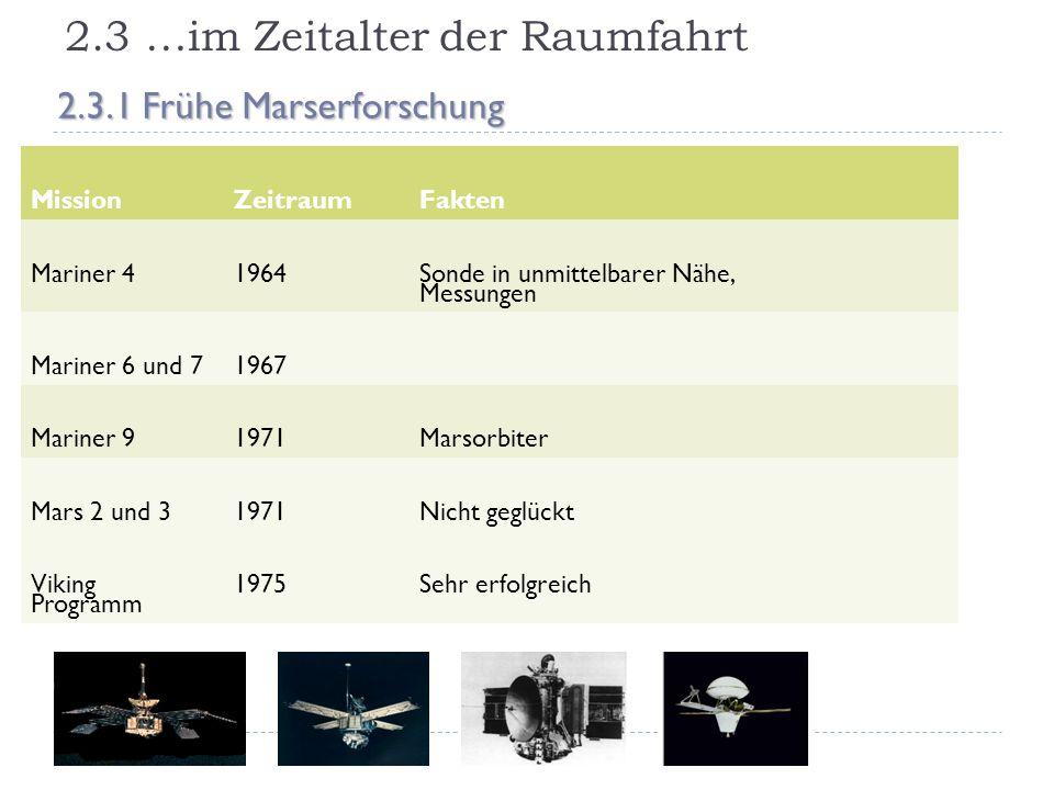 2.3 …im Zeitalter der Raumfahrt 2.3.1 Frühe Marserforschung MissionZeitraumFakten Mariner 41964 Sonde in unmittelbarer Nähe, Messungen Mariner 6 und 7