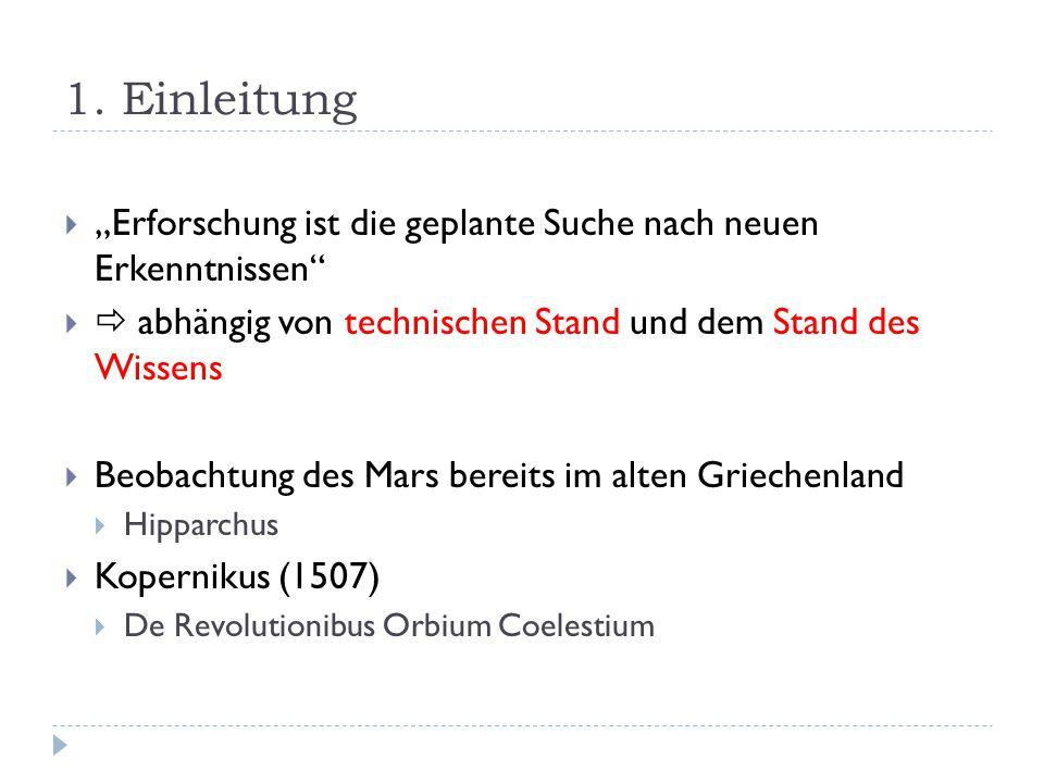 2.3 …im Zeitalter der Raumfahrt 2.3.1 Frühe Marserforschung MissionZeitraumFakten Mariner 41964 Sonde in unmittelbarer Nähe, Messungen Mariner 6 und 71967 Mariner 91971Marsorbiter Mars 2 und 31971Nicht geglückt Viking Programm 1975Sehr erfolgreich