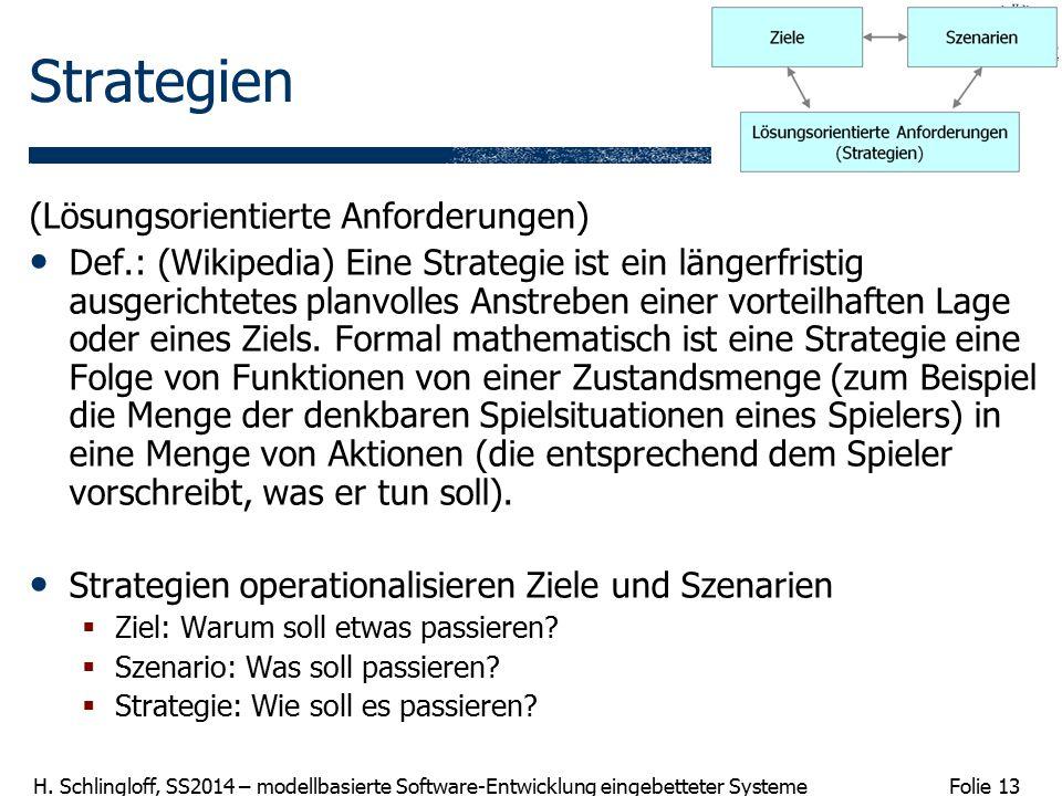 Folie 13 H. Schlingloff, SS2014 – modellbasierte Software-Entwicklung eingebetteter Systeme Strategien (Lösungsorientierte Anforderungen) Def.: (Wikip