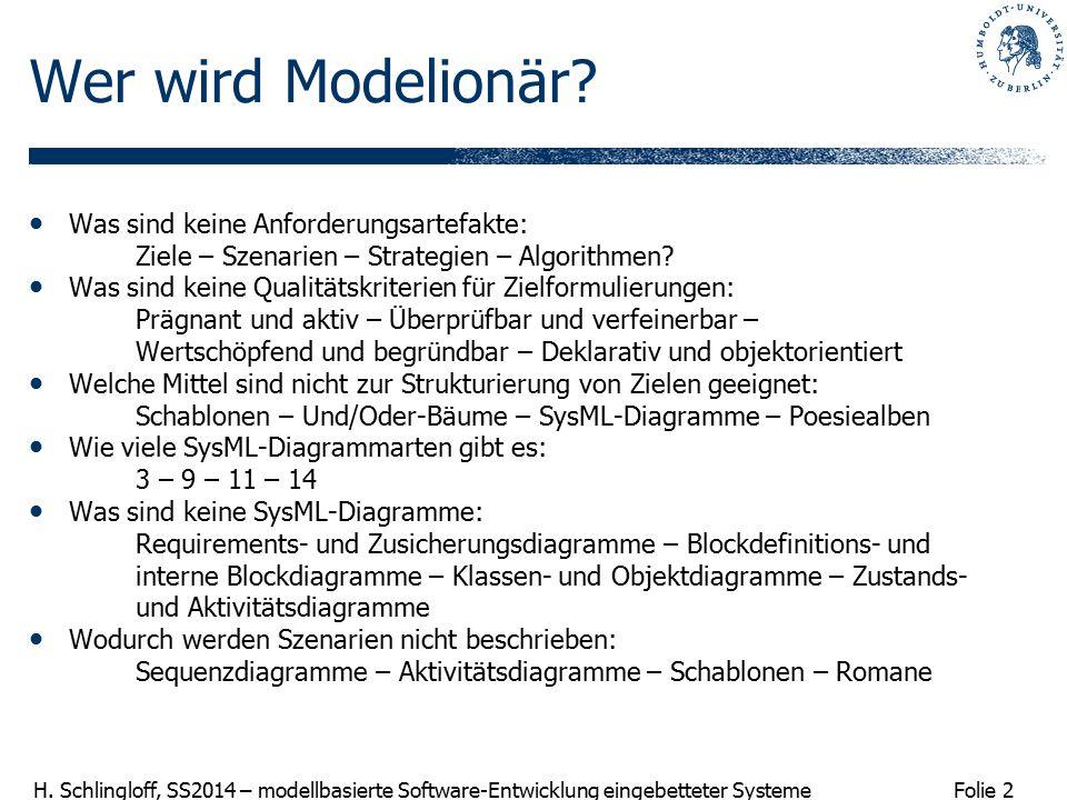 Folie 2 H. Schlingloff, SS2014 – modellbasierte Software-Entwicklung eingebetteter Systeme Wer wird Modelionär? Was sind keine Anforderungsartefakte: