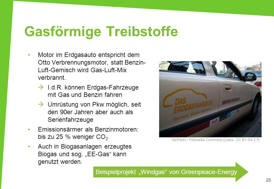 Gasförmige Treibstoffe 25 Motor im Erdgasauto entspricht dem Otto Verbrennungsmotor, statt Benzin- Luft-Gemisch wird Gas-Luft-Mix verbrannt.  I.d.R.