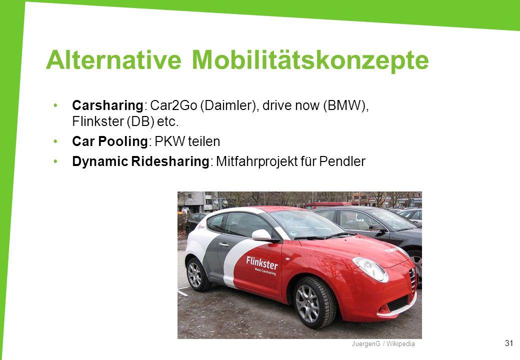 Alternative Mobilitätskonzepte Carsharing: Car2Go (Daimler), drive now (BMW), Flinkster (DB) etc. Car Pooling: PKW teilen Dynamic Ridesharing: Mitfahr