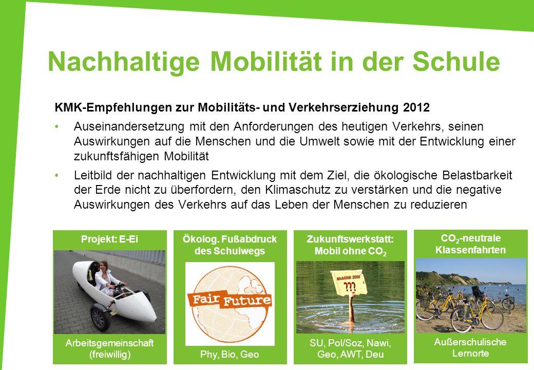 Nachhaltige Mobilität in der Schule 36 KMK-Empfehlungen zur Mobilitäts- und Verkehrserziehung 2012 Auseinandersetzung mit den Anforderungen des heutig