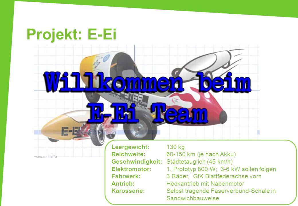 Projekt: E-Ei 37 www.e-ei.info Leergewicht:130 kg Reichweite:60-150 km (je nach Akku) Geschwindigkeit: Städtetauglich (45 km/h) Elektromotor: 1. Proto