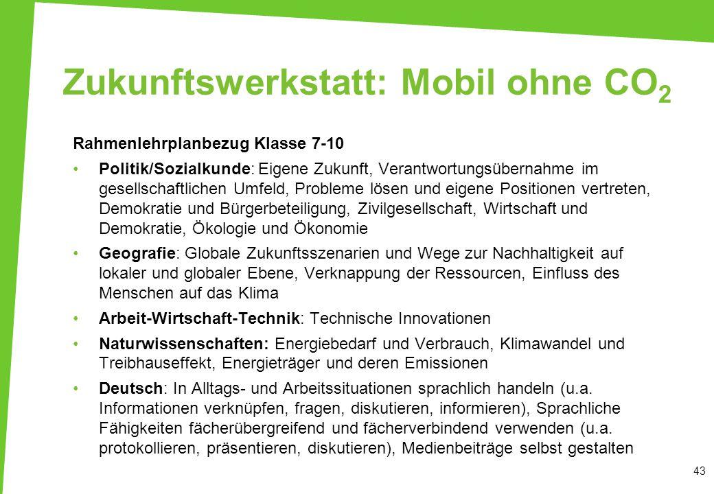 Zukunftswerkstatt: Mobil ohne CO 2 43 Rahmenlehrplanbezug Klasse 7-10 Politik/Sozialkunde: Eigene Zukunft, Verantwortungsübernahme im gesellschaftlich