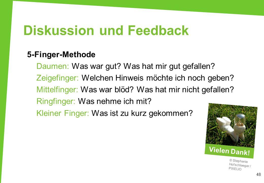 48 Diskussion und Feedback 5-Finger-Methode Daumen: Was war gut? Was hat mir gut gefallen? Zeigefinger: Welchen Hinweis möchte ich noch geben? Mittelf