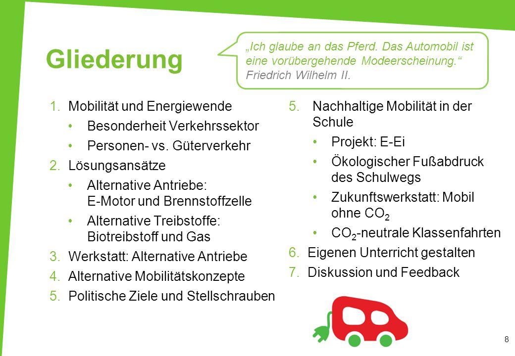 5.Nachhaltige Mobilität in der Schule Projekt: E-Ei Ökologischer Fußabdruck des Schulwegs Zukunftswerkstatt: Mobil ohne CO 2 CO 2 -neutrale Klassenfah