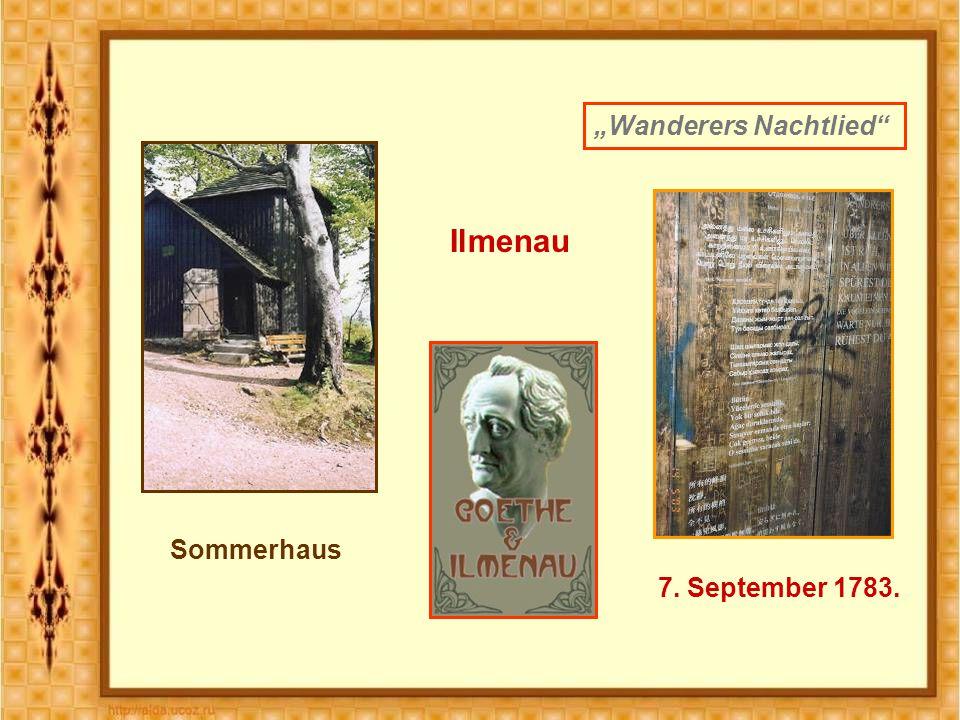 """Ilmenau Sommerhaus """"Wanderers Nachtlied 7. September 1783."""