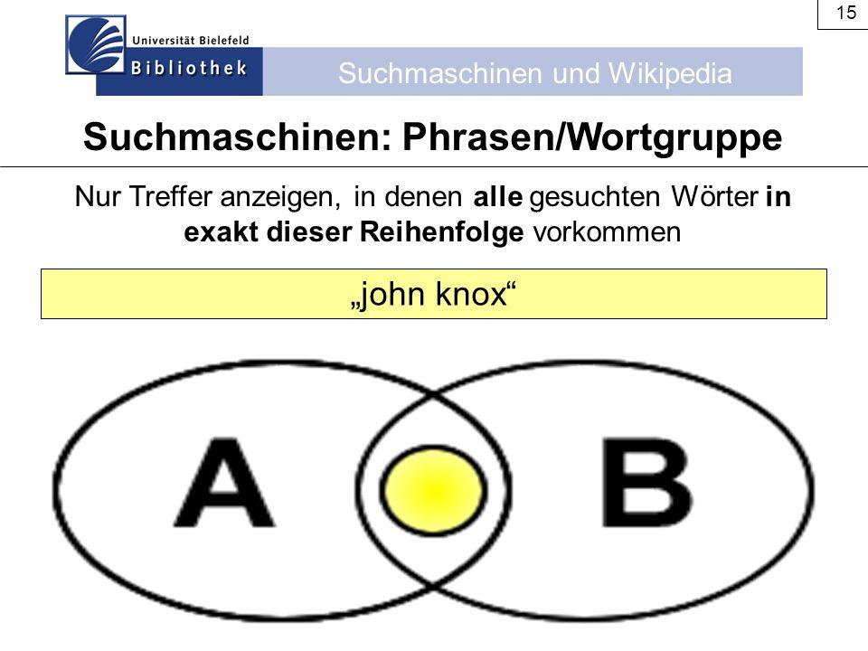 """Suchmaschinen und Wikipedia 15 Nur Treffer anzeigen, in denen alle gesuchten Wörter in exakt dieser Reihenfolge vorkommen """"john knox"""" Suchmaschinen: P"""