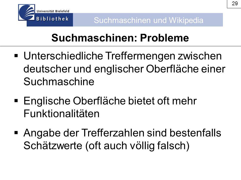 Suchmaschinen und Wikipedia 29  Unterschiedliche Treffermengen zwischen deutscher und englischer Oberfläche einer Suchmaschine  Englische Oberfläche