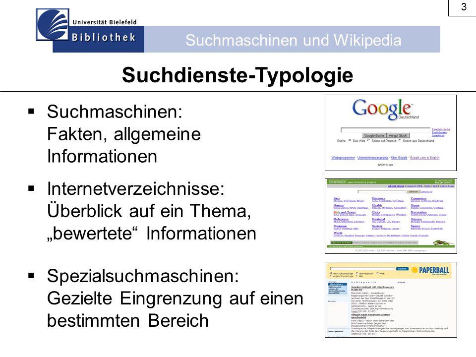 Suchmaschinen und Wikipedia 3  Suchmaschinen: Fakten, allgemeine Informationen Suchdienste-Typologie  Internetverzeichnisse: Überblick auf ein Thema