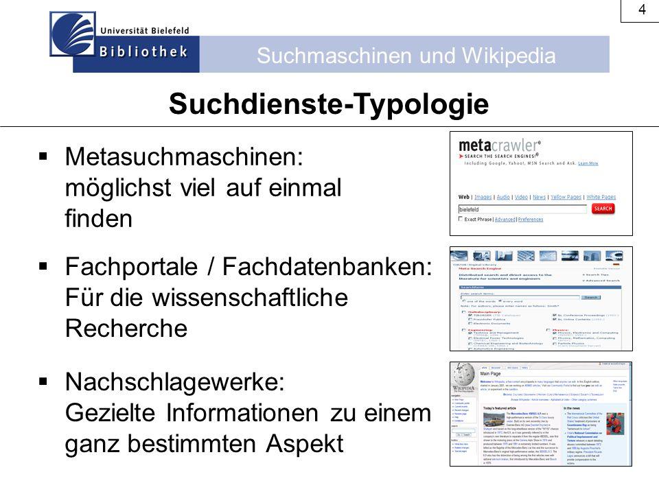 Suchmaschinen und Wikipedia 4  Metasuchmaschinen: möglichst viel auf einmal finden Suchdienste-Typologie  Fachportale / Fachdatenbanken: Für die wis