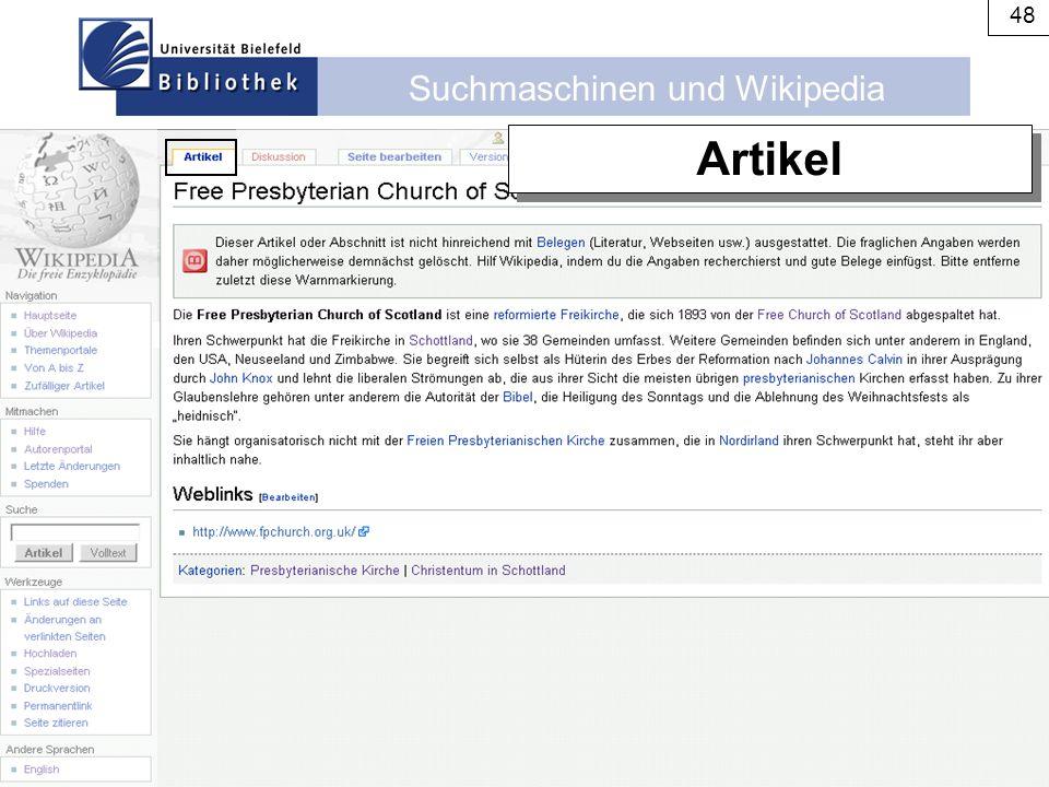 Suchmaschinen und Wikipedia 48 Artikel