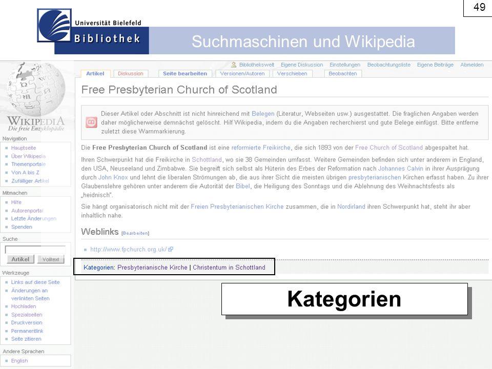 Suchmaschinen und Wikipedia 49 Kategorien