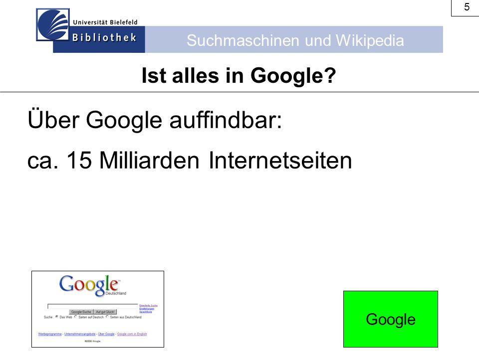Suchmaschinen und Wikipedia 5 Über Google auffindbar: ca. 15 Milliarden Internetseiten Ist alles in Google? Google