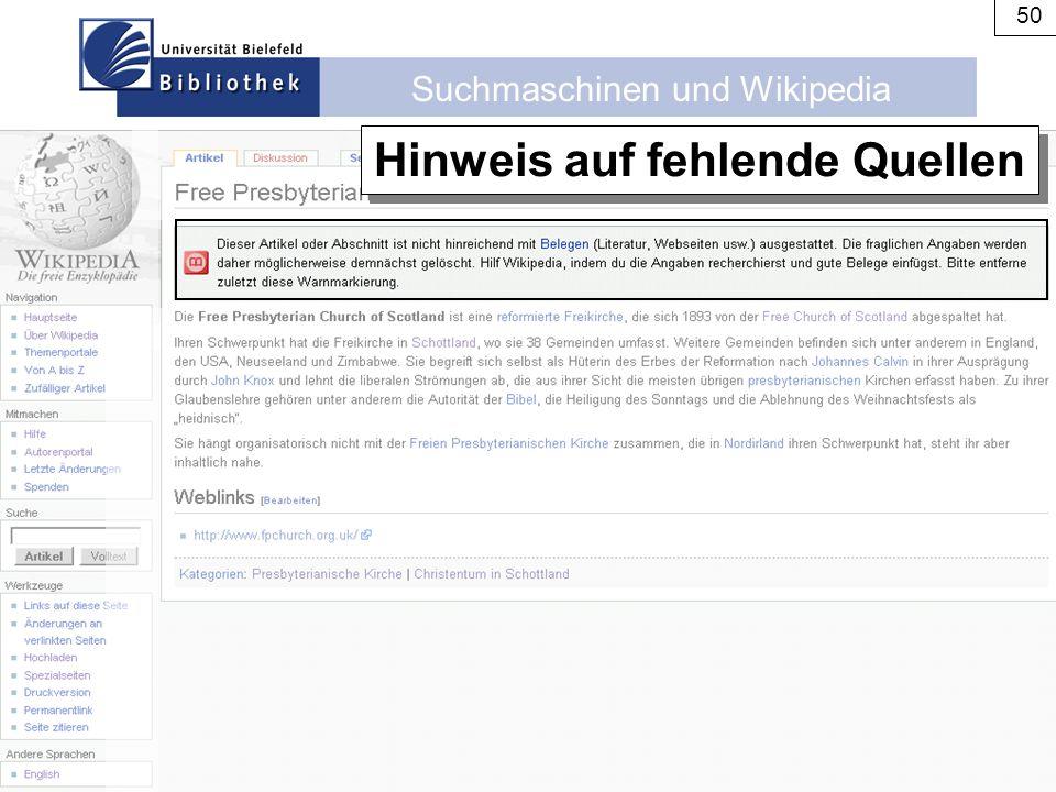 Suchmaschinen und Wikipedia 50 Hinweis auf fehlende Quellen