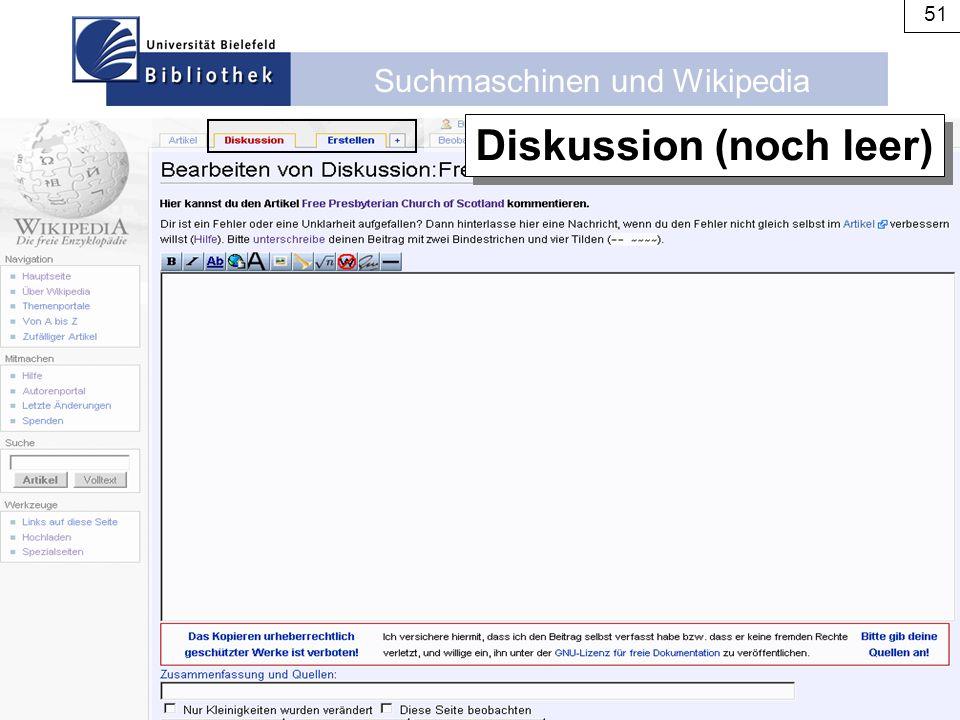Suchmaschinen und Wikipedia 51 Diskussion (noch leer)