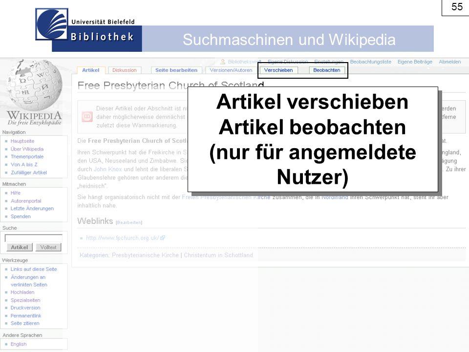 Suchmaschinen und Wikipedia 55 Artikel verschieben Artikel beobachten (nur für angemeldete Nutzer) Artikel verschieben Artikel beobachten (nur für ang