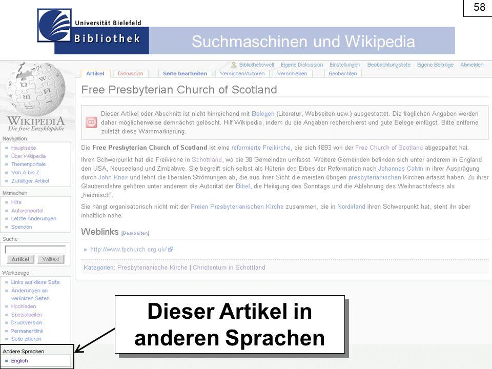 Suchmaschinen und Wikipedia 58 Dieser Artikel in anderen Sprachen
