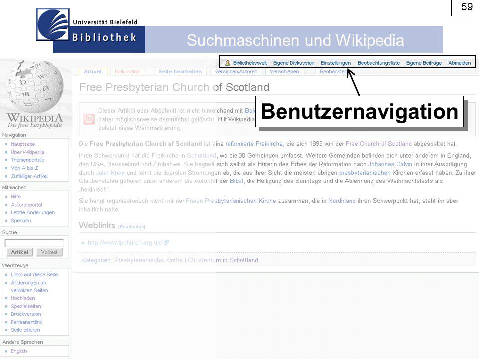 Suchmaschinen und Wikipedia 59 Benutzernavigation