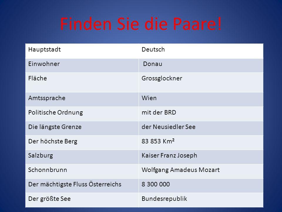 Finden Sie die Paare! HauptstadtDeutsch Einwohner Donau FlächeGrossglockner AmtsspracheWien Politische Ordnungmit der BRD Die längste Grenzeder Neusie