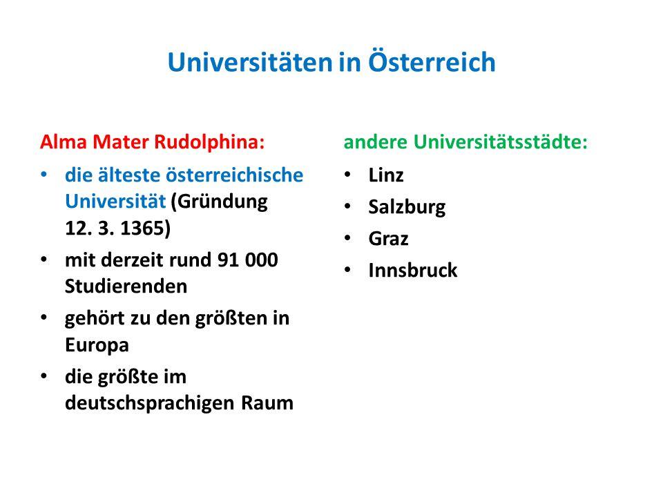 Universitäten in Österreich Alma Mater Rudolphina: die älteste österreichische Universität (Gründung 12.