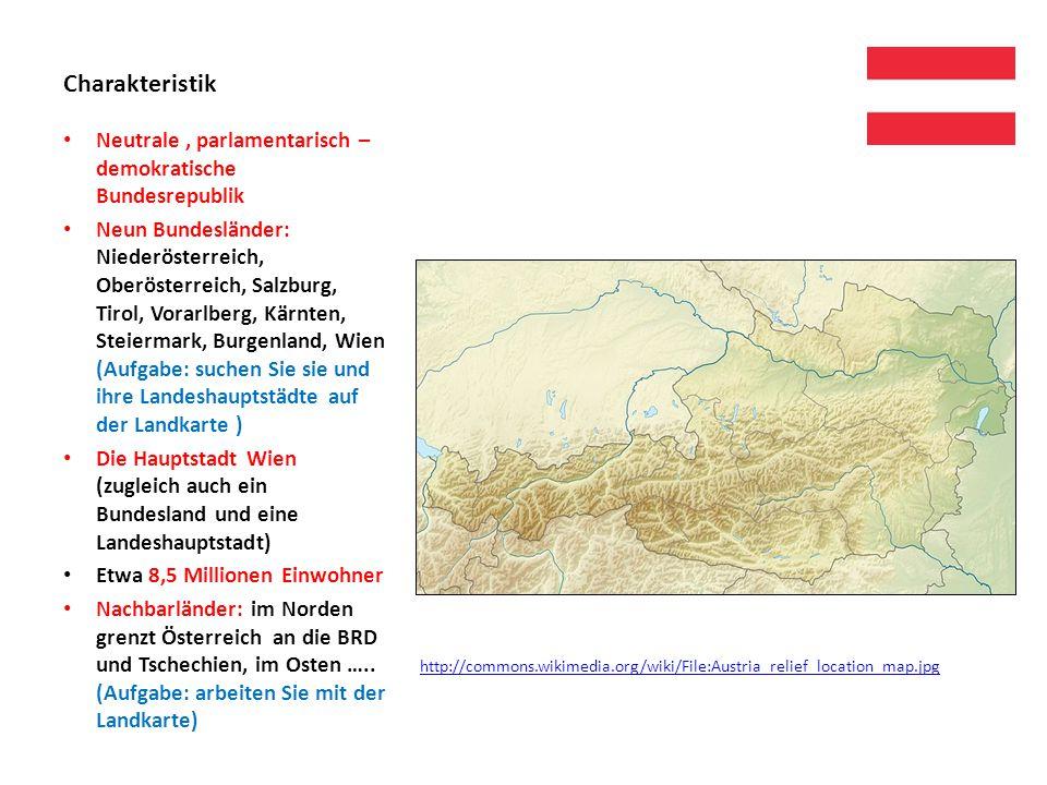 Interessante Städte: Graz – die zweitgrößte Stadt Österreichs, Landeshauptstadt von Steiermark Linz – die drittgrößte Stadt Österreichs, Landeshauptstadt von Oberösterreich, der drittgrößte Stahlproduzent der Welt Salzburg – gleichnamig wie das Bundesland, Geburtsstadt von Wolfgang Amadeus Mozart, Festung Hohensalzburg touristisch attraktiv Innsbruck - nach der Brücke über den Fluss Inn genannt, das Goldene Dachl – Wahrzeichen der Stadt, mit feuervergoldeten Kupferschindeln bedeckt, 1964 und 1972 die Olympischen Winterspiele Bregenz – der bedeutendste Bodenseehafen Österreichs, Bregenzer Festspiele – die größte Freilicht-Festspielbühne der Welt …