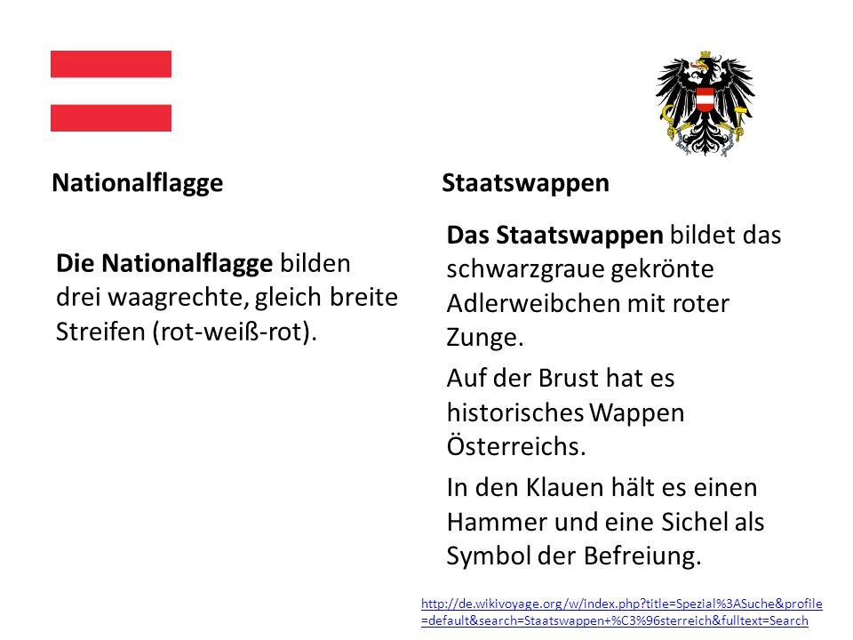 Nationalflagge Die Nationalflagge bilden drei waagrechte, gleich breite Streifen (rot-weiß-rot).