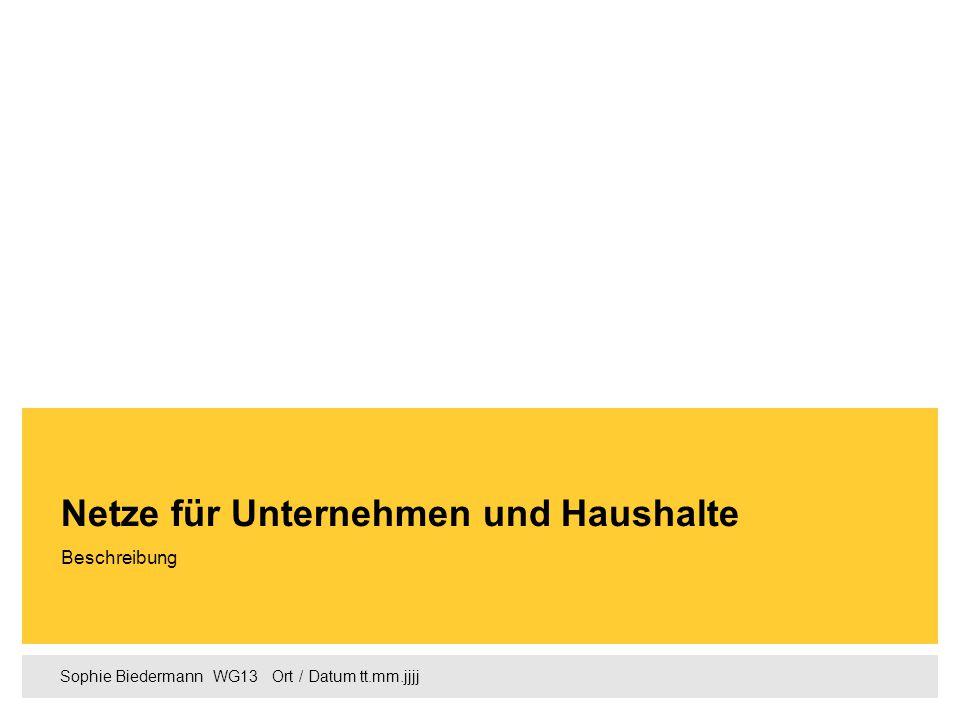 Sophie Biedermann  WG13  Ort / Datum tt.mm.jjjj Beschreibung Netze für Unternehmen und Haushalte