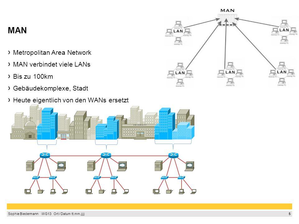 6 Sophie Biedermann  WG13  Ort / Datum tt.mm.jjjj WAN, GAN WAN- Wide Area Network Erstreckt sich über großen geografischen Bereich- über Länder und Kontinente Anzahl angeschlossener Rechner unbegrenzt Von Internetanbietern errichtet/erweitert Verbindungen von Firmen, die Standorte weltweit haben GAN- Global Area Network Netz ohne geographische Begrenzung Kann Wide Area Networks verbinden (z.B.