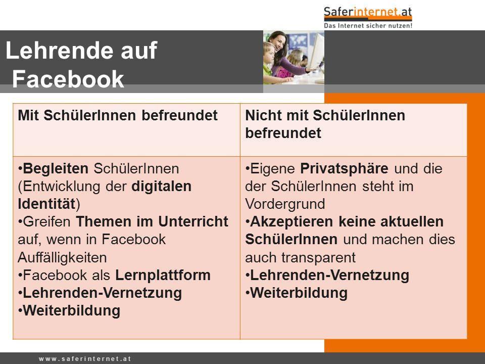 Lehrende auf Facebook w w w. s a f e r i n t e r n e t. a t Mit SchülerInnen befreundetNicht mit SchülerInnen befreundet Begleiten SchülerInnen (Entwi