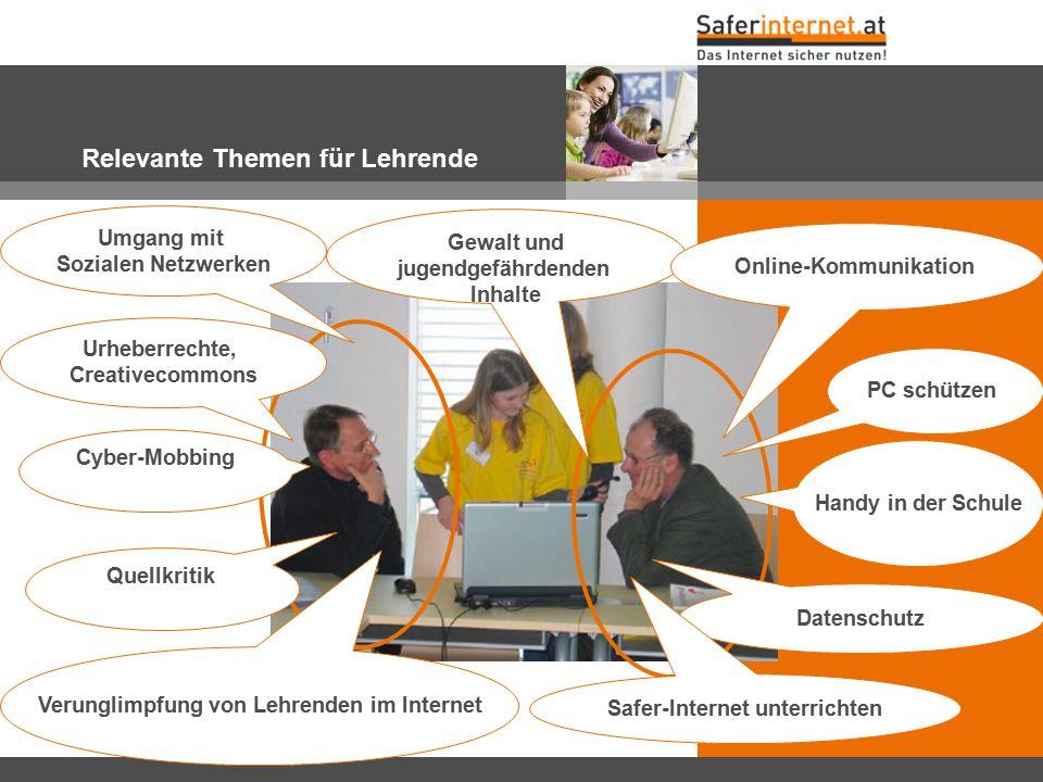 Relevante Themen für Lehrende Urheberrechte, Creativecommons Cyber-Mobbing Handy in der Schule Verunglimpfung von Lehrenden im Internet Datenschutz Ge