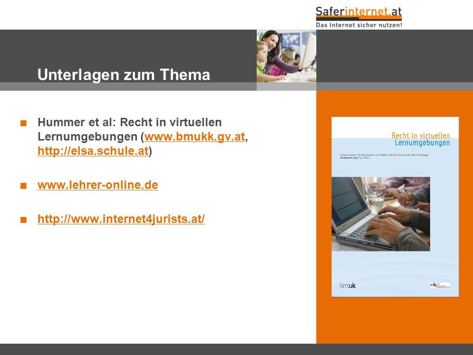 Unterlagen zum Thema Hummer et al: Recht in virtuellen Lernumgebungen (www.bmukk.gv.at, http://elsa.schule.at)www.bmukk.gv.at http://elsa.schule.at ww