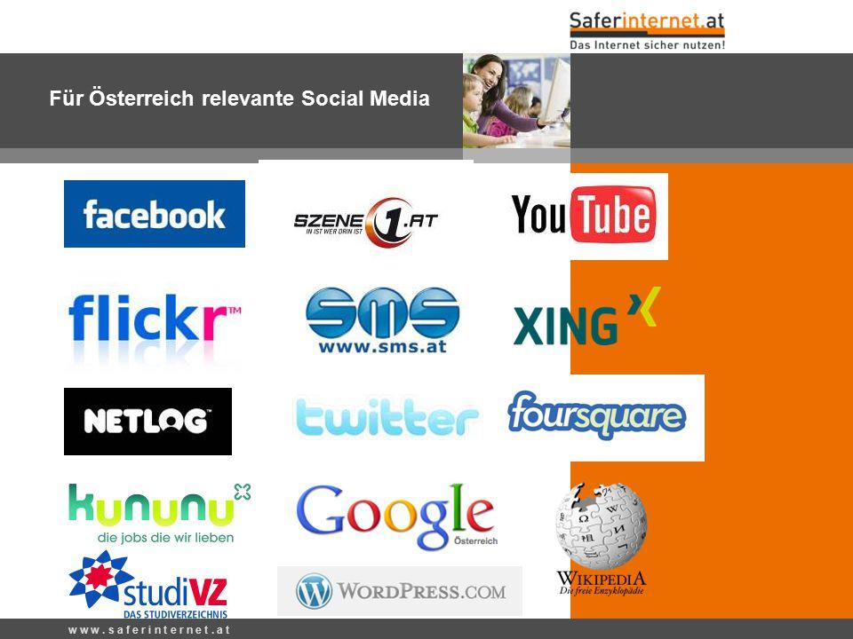 w w w. s a f e r i n t e r n e t. a t Für Österreich relevante Social Media