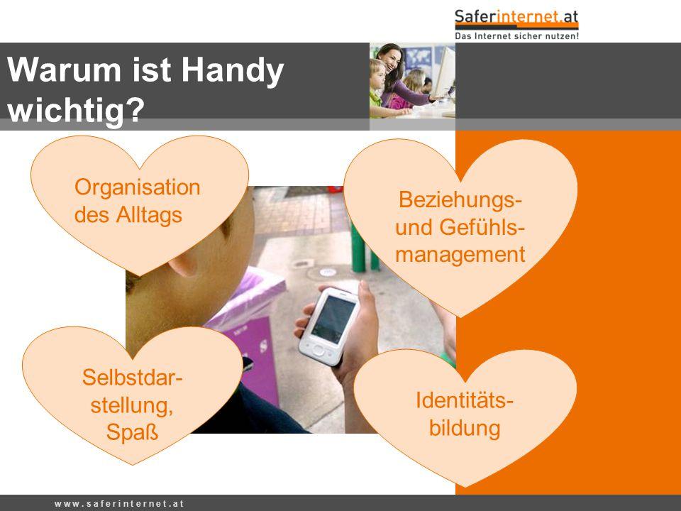 Warum ist Handy wichtig? w w w. s a f e r i n t e r n e t. a t Organisation des Alltags Identitäts- bildung Beziehungs- und Gefühls- management Selbst