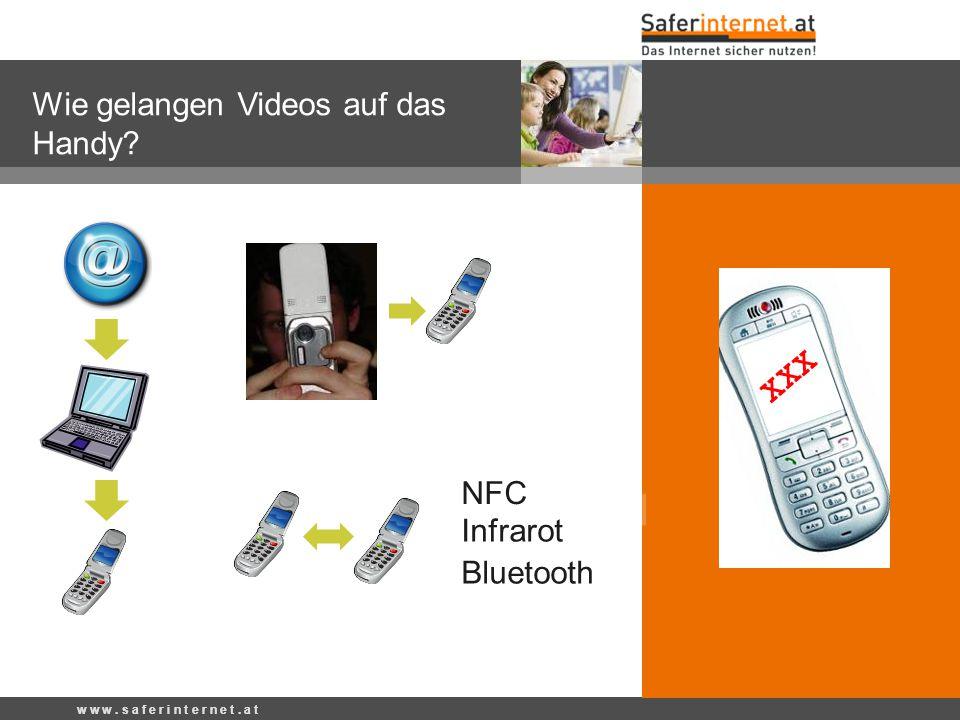 w w w. s a f e r i n t e r n e t. a t Wie gelangen Videos auf das Handy? w w w. s a f e r i n t e r n e t. a t Bluetooth NFC Infrarot