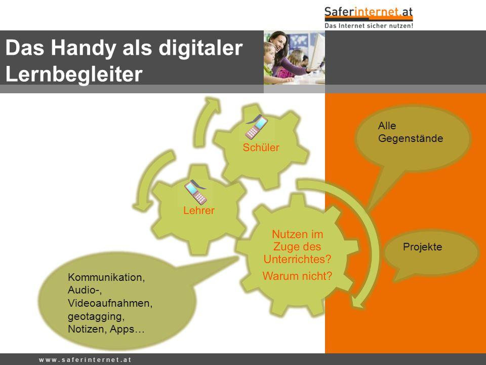 Das Handy als digitaler Lernbegleiter w w w. s a f e r i n t e r n e t. a t Alle Gegenstände Projekte Kommunikation, Audio-, Videoaufnahmen, geotaggin