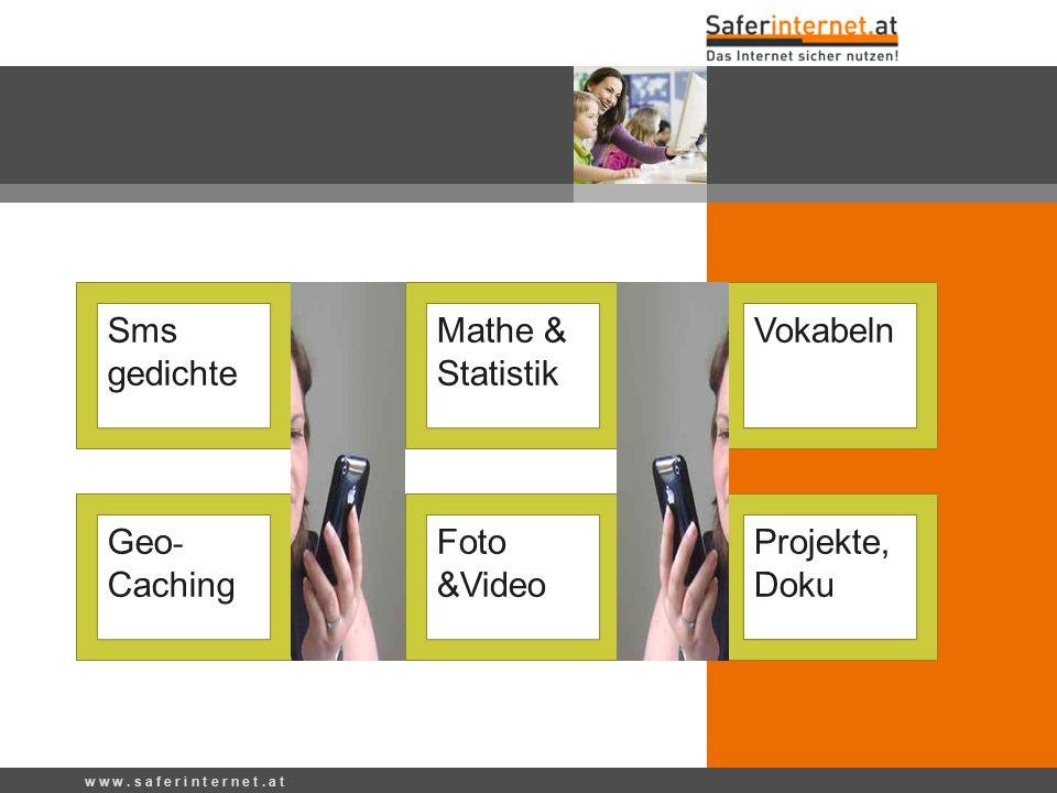 Ideen für den Unterricht w w w. s a f e r i n t e r n e t. a t Sms gedichte Mathe & Statistik Foto &Video Projekte, Doku Vokabeln Geo - Caching