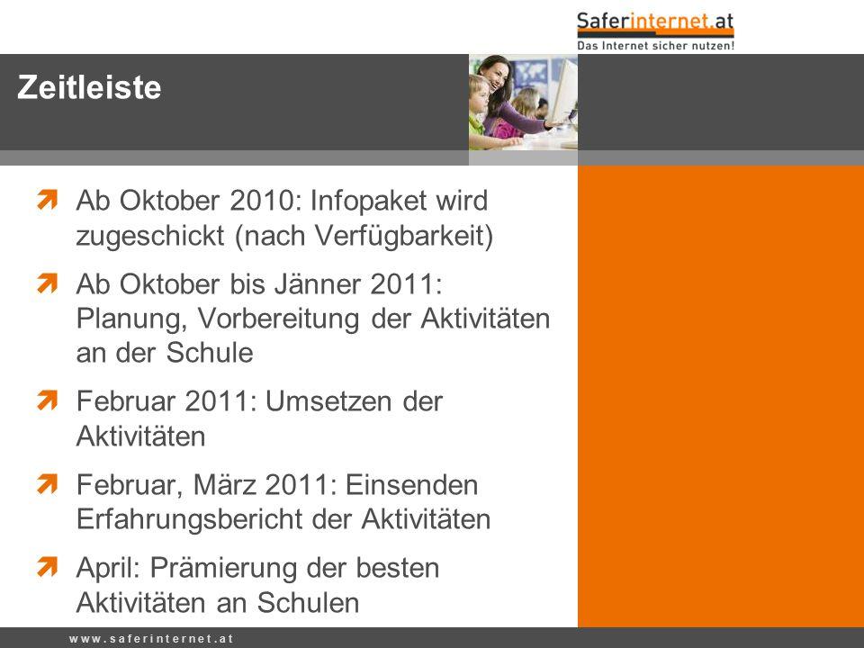  Ab Oktober 2010: Infopaket wird zugeschickt (nach Verfügbarkeit)  Ab Oktober bis Jänner 2011: Planung, Vorbereitung der Aktivitäten an der Schule 