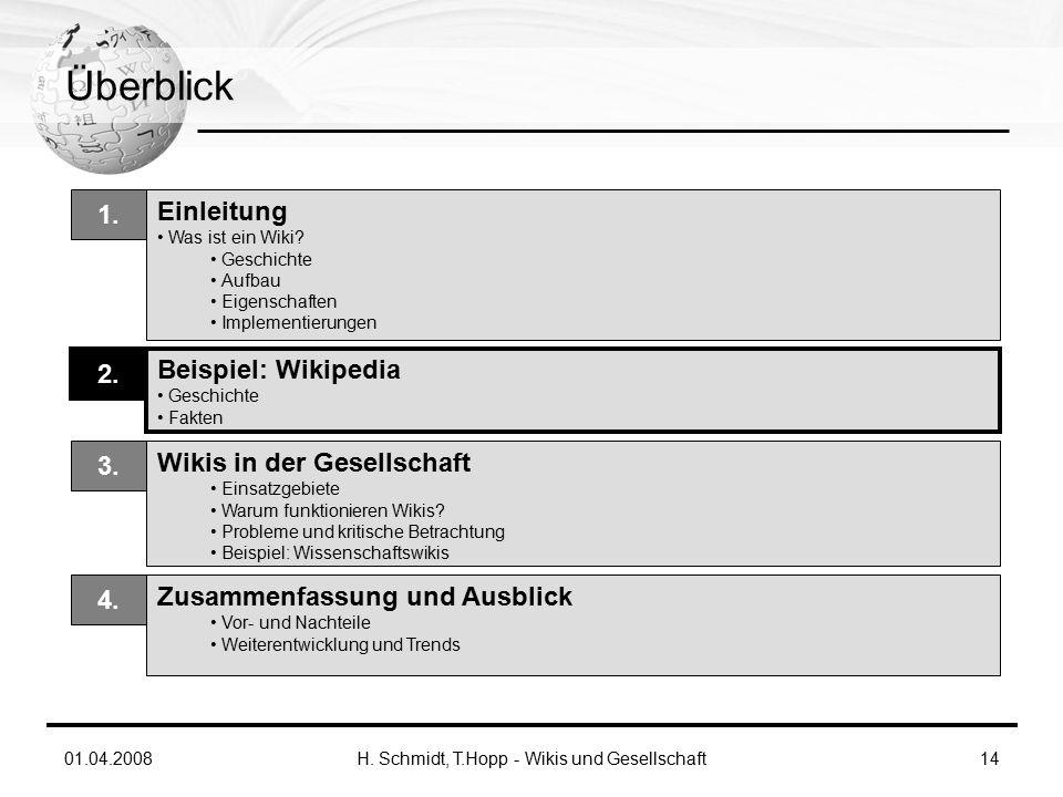 01.04.2008H. Schmidt, T.Hopp - Wikis und Gesellschaft14 Überblick Einleitung Was ist ein Wiki.