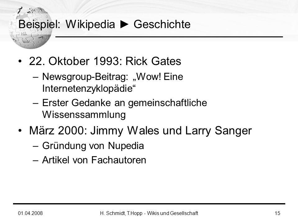 01.04.2008H. Schmidt, T.Hopp - Wikis und Gesellschaft15 Beispiel: Wikipedia ► Geschichte 22.