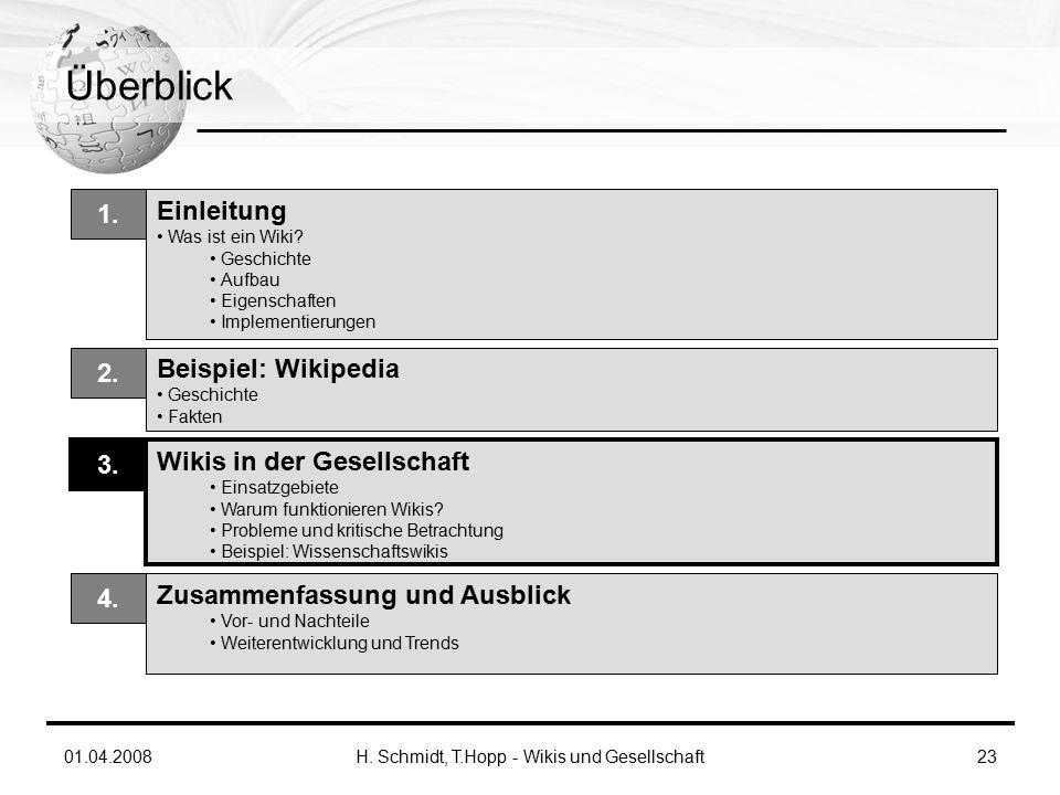 01.04.2008H. Schmidt, T.Hopp - Wikis und Gesellschaft23 Überblick Einleitung Was ist ein Wiki.