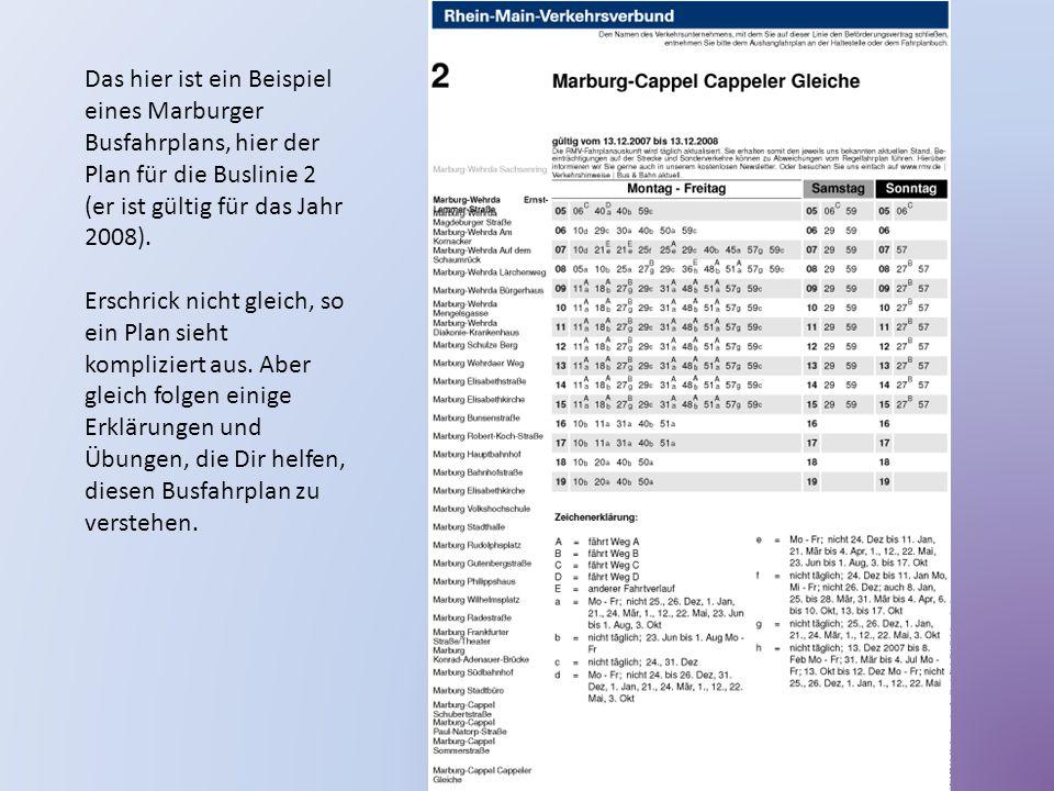 Das hier ist ein Beispiel eines Marburger Busfahrplans, hier der Plan für die Buslinie 2 (er ist gültig für das Jahr 2008). Erschrick nicht gleich, so