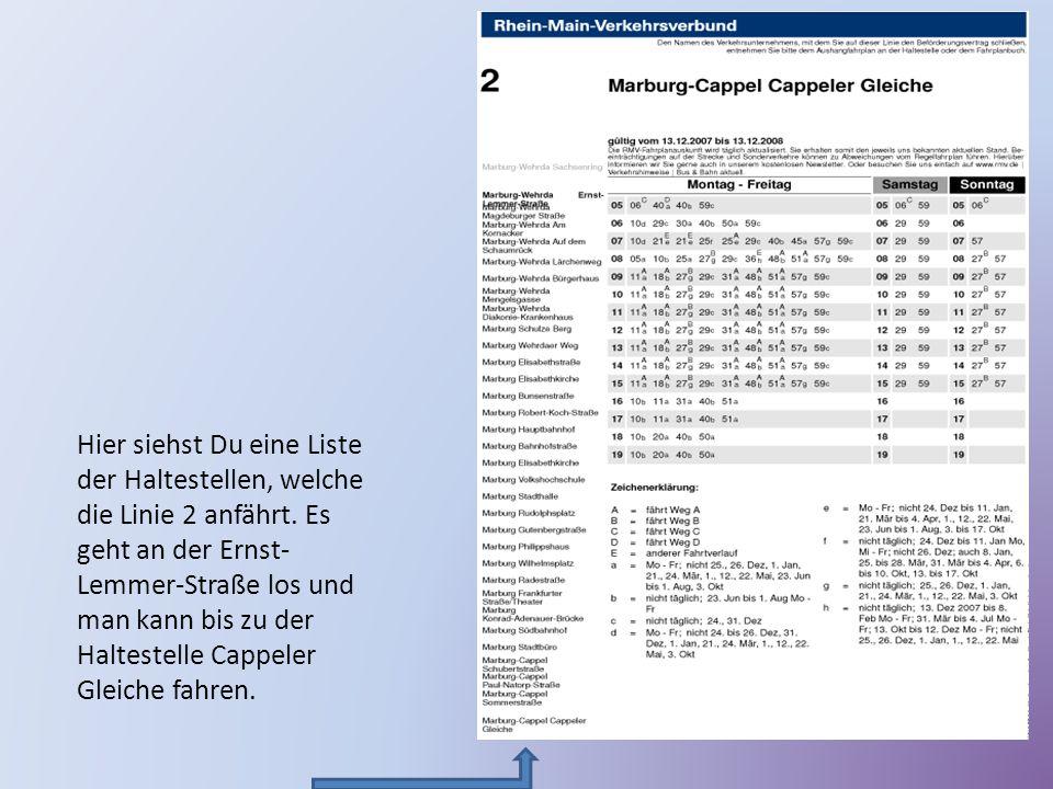 Hier siehst Du eine Liste der Haltestellen, welche die Linie 2 anfährt. Es geht an der Ernst- Lemmer-Straße los und man kann bis zu der Haltestelle Ca