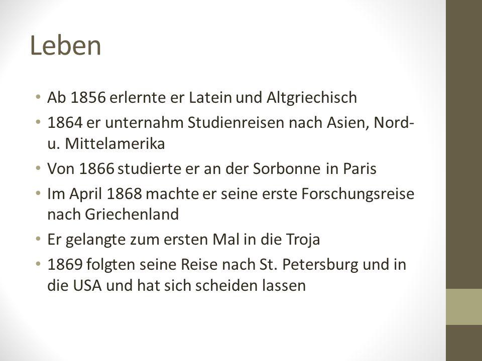 Leben Ab 1856 erlernte er Latein und Altgriechisch 1864 er unternahm Studienreisen nach Asien, Nord- u.