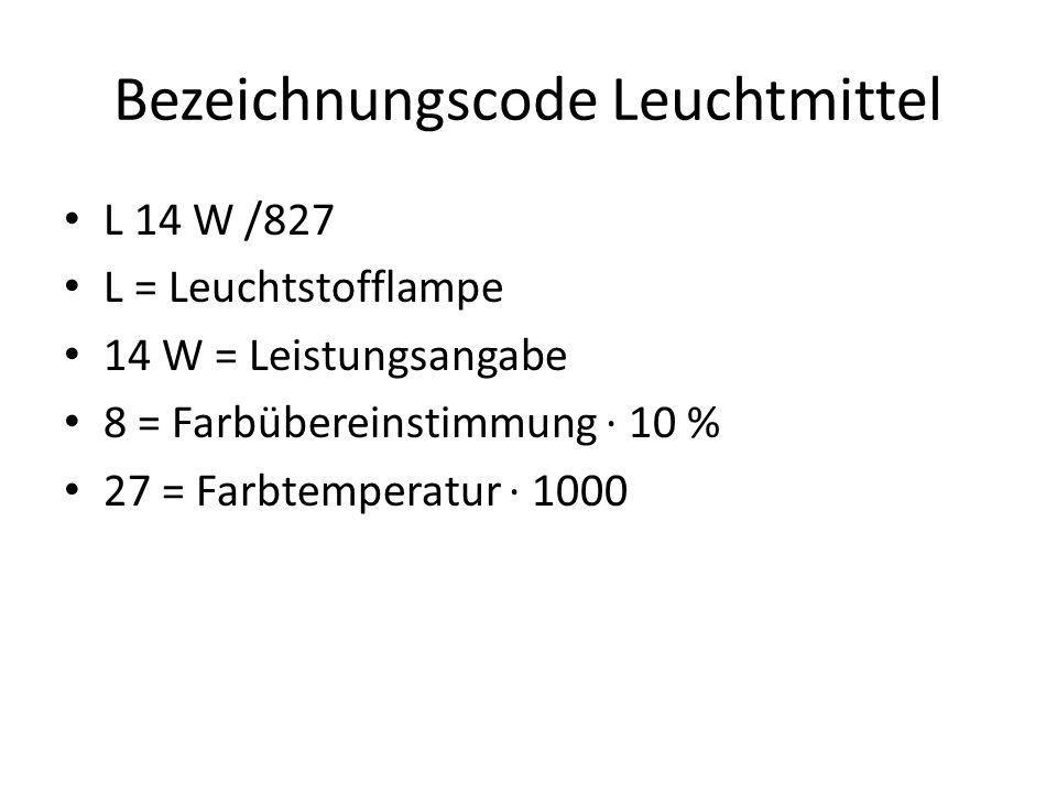 Bezeichnungscode Leuchtmittel L 14 W /827 L = Leuchtstofflampe 14 W = Leistungsangabe 8 = Farbübereinstimmung · 10 % 27 = Farbtemperatur · 1000