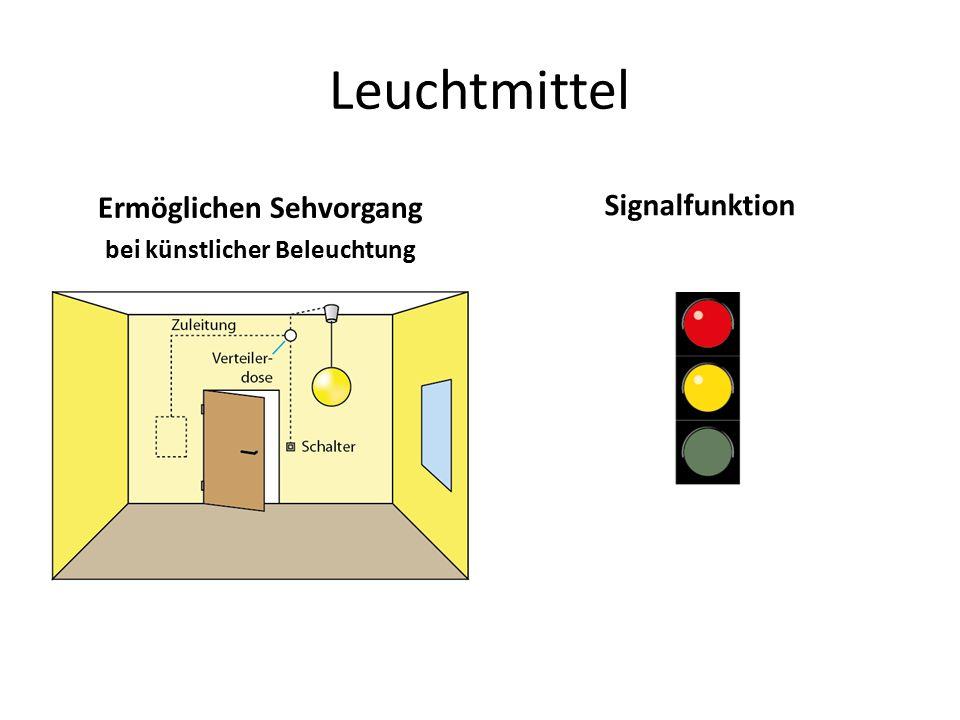 Leuchtmittel Ermöglichen Sehvorgang bei künstlicher Beleuchtung Signalfunktion