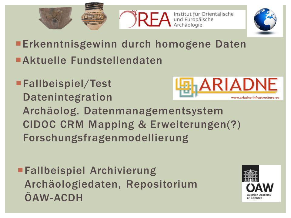  Erkenntnisgewinn durch homogene Daten  Aktuelle Fundstellendaten  Fallbeispiel/Test Datenintegration Archäolog.
